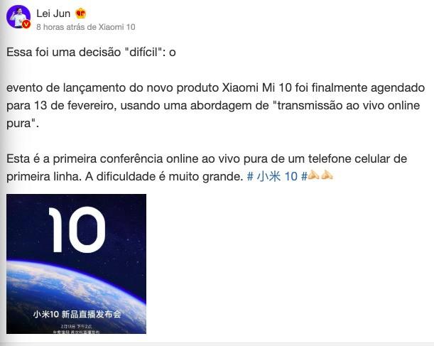Xiaomi Mi 10 vai ser apresentado por transmissão online – Mundo Smart - mundosmart